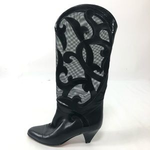 Bally Vintage leather mesh filigree heeled boots.